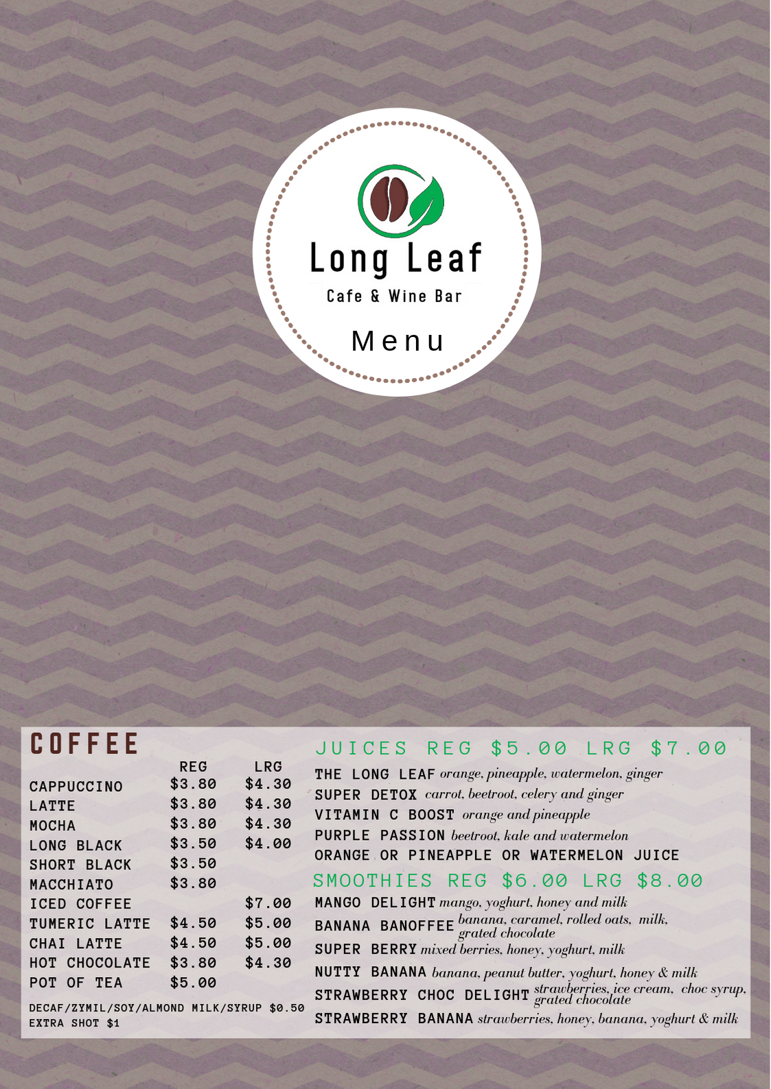 Long Leaf Cafe Menu